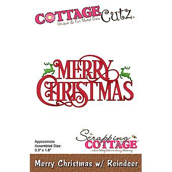 CottageCutz Die-Merry Christmas W/Reindeer 3.3