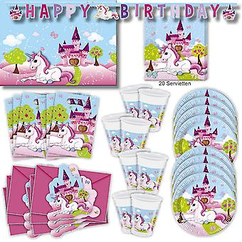 Unicorn Unicorn party set XL 57-teilig for 6 guests Unicorn party birthday decoration party package