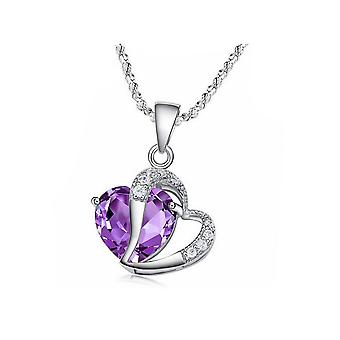 Womens Purple Heart Crown Pendant Necklace