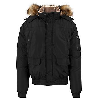 Urban classics - HEAVY HOODED BOMBER jacket black