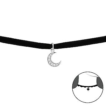Moon - 925 Sterling Silver + Velvet Chokers - W33989x
