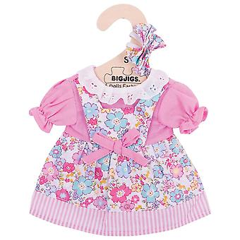 Bigjigs Toys Pink Floral Doll Dress (28cm) Clothing Outfit Dress Up