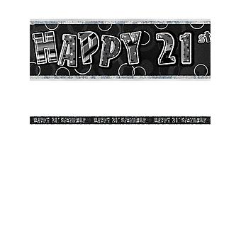 Födelsedag glitter svart & Silver 21st Birthday Prism Banner