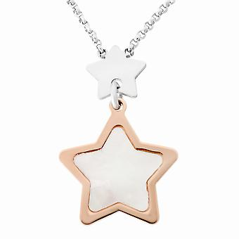 Orphelia Silver 925  Necklace Bicolor Multiple Stars Mop  ZK-7167