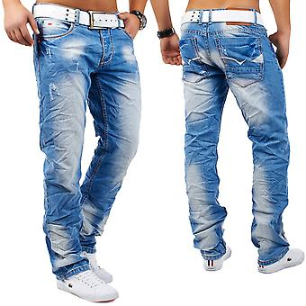 Men Jeans Destroyed Destroyed wrinkle Relax Fit Ripped Angelo