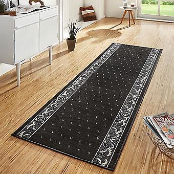 Conception de velours tapis coureurs pont fleuron noir