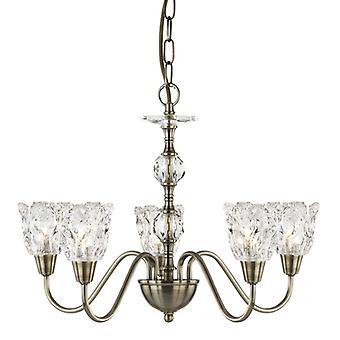 Monarque - 5 lumière plafond, laiton Antique, verre clair