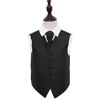 Black Greek Key Wedding Waistcoat & Cravat Set for Boys