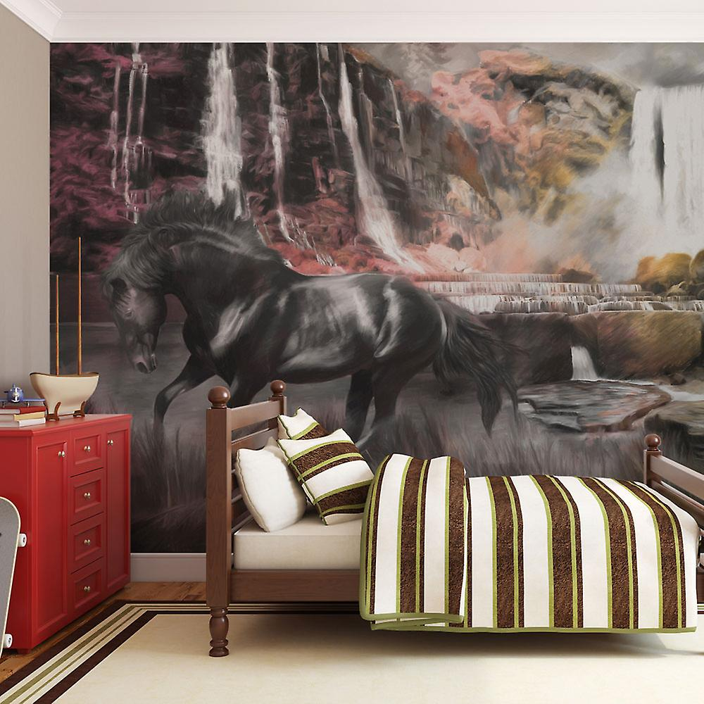 Papier peint - Cheval noir et cascade