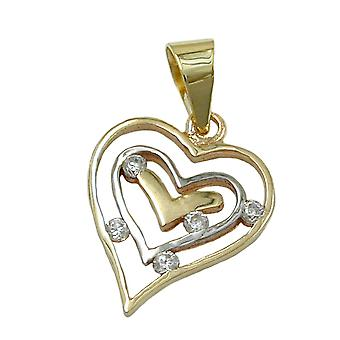 Heart pendants gold 375 pendant, heart bicolor, cubic zirconia, 9 KT