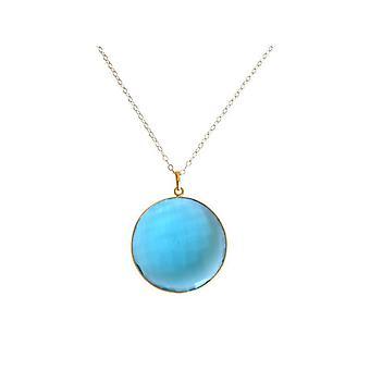 Blautopaz quartz necklace Blue Topaz necklace gold plated gemstone necklace