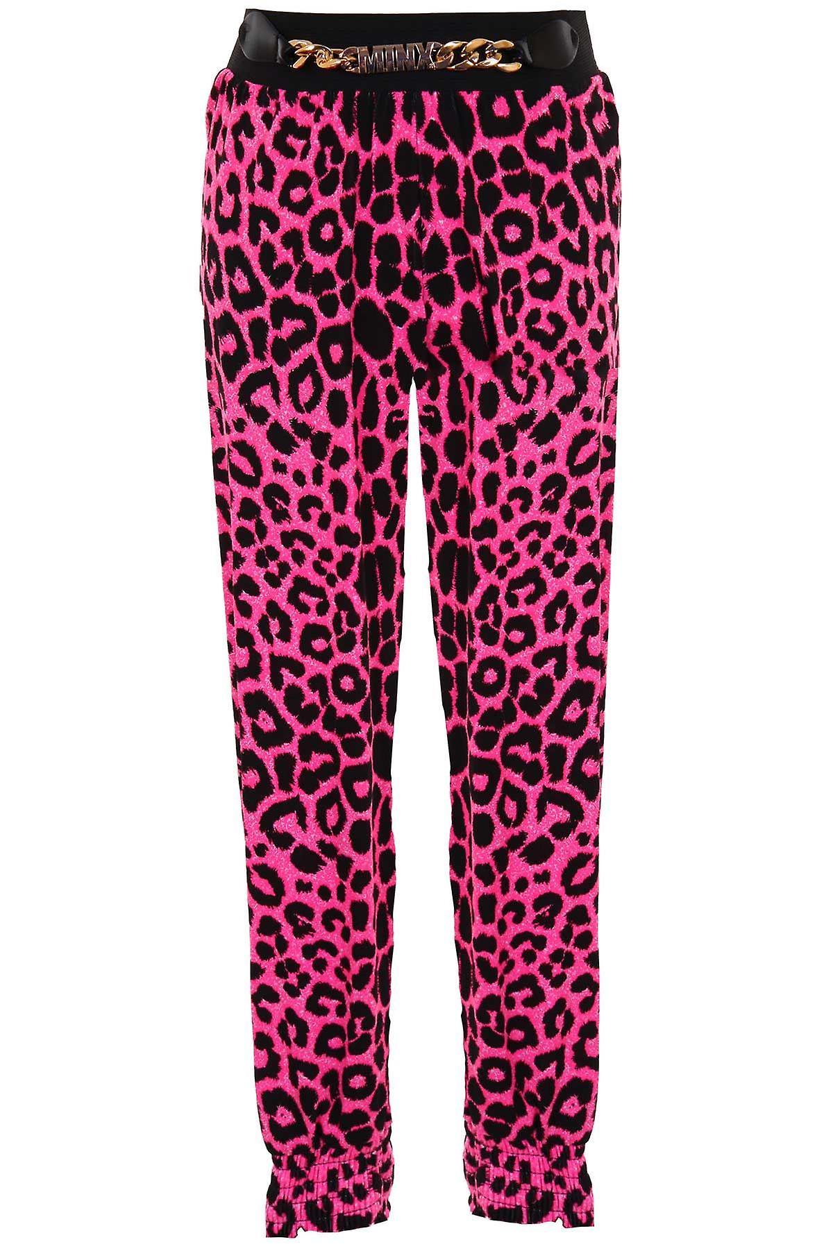 Children's Elasticated Waist Band Leopard Print Girls Gold Buckle Harem Trousers