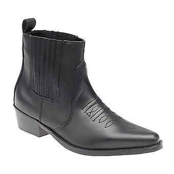 Mens Leather Slip On Western Harness Cowboy Ankle Boots Shoes