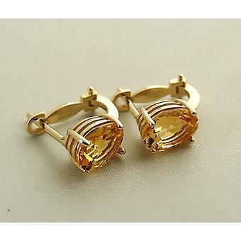 Geel gouden citrien oorbellen