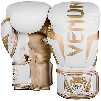 Venum النخبة الجلود سكينتيكس هوك وحلقة تدريبية قفازات الملاكمة-الذهب الأبيض/