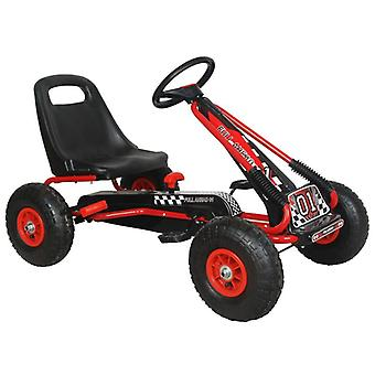 RideonToys4u Full Ahead Kids Pedal Go Kart With Air Wheels Red