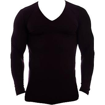 Obviously Essence Deep V-Neck Long Sleeve Undershirt - Black