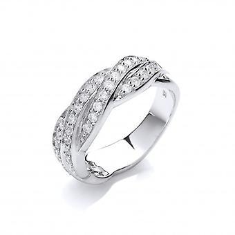 Cavendish francés plata y Cubic Zirconia anillo de la venda entrelazados