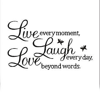 TRIXES Live Laugh Love zwarte muur Decal Sticker Home Decoratie Vinyl