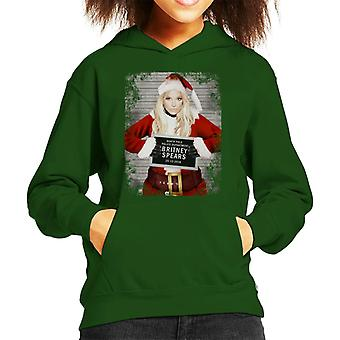 Christmas Mugshot Britney Spears Kid's Hooded Sweatshirt
