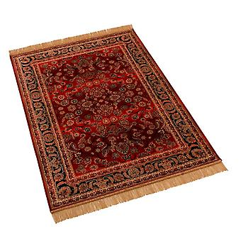 Red Afghan Ziegler Artificial Faux Silk Effect Rugs 5663/12 100 x 140cm