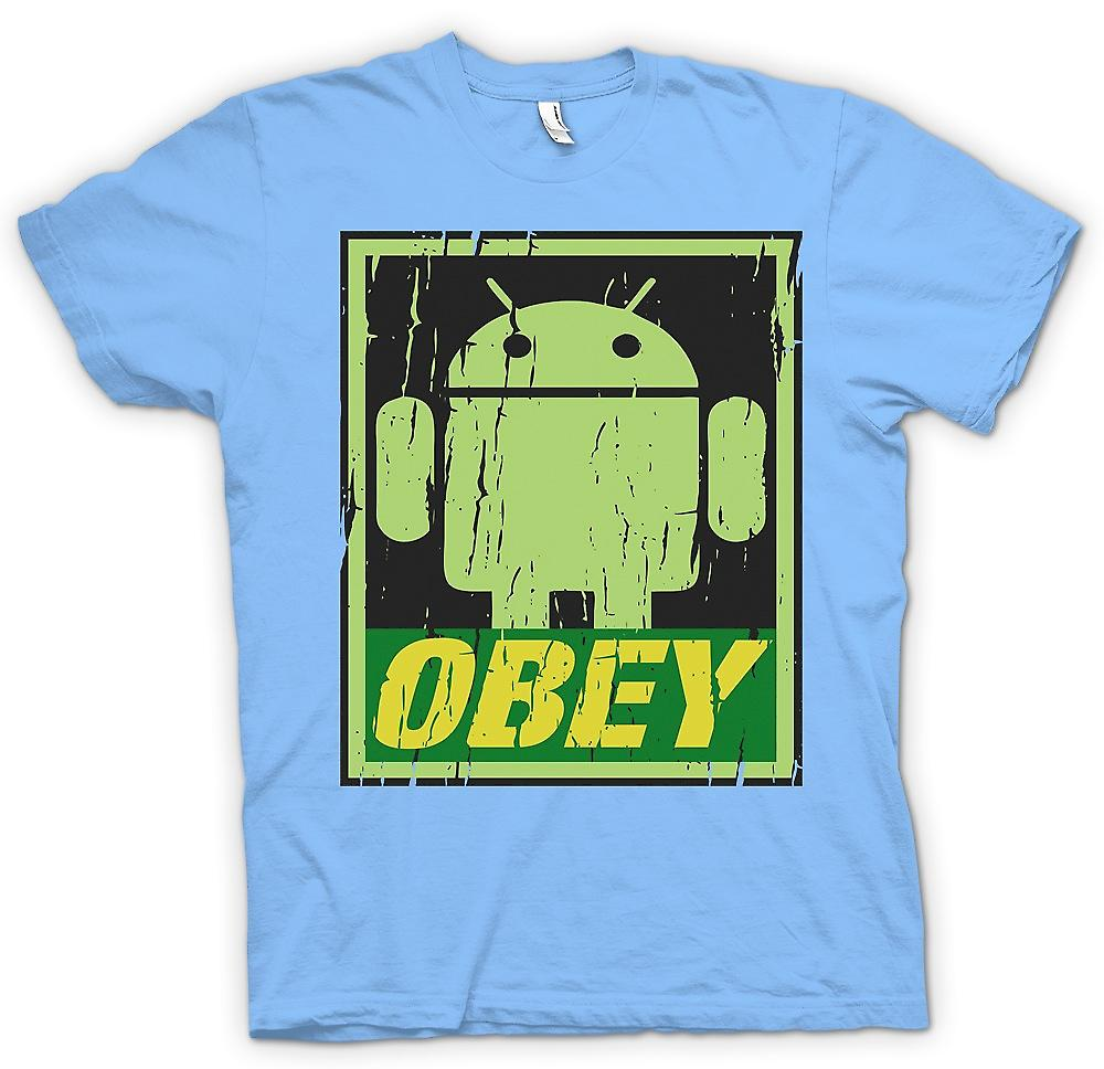 Mens t-shirt - Android esercito - obbedire - Cool divertente