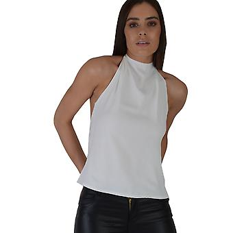 Lovemystyle White Halter Neck Top With Zip Back
