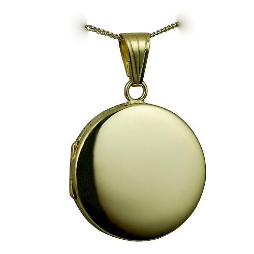 18ct Gold 23mm round flat plain Locket with a curb chain