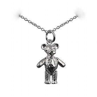 Silver 19x13mm rörliga nallebjörn hänge med en rolo Chain 14 inches bara lämpar sig för barn