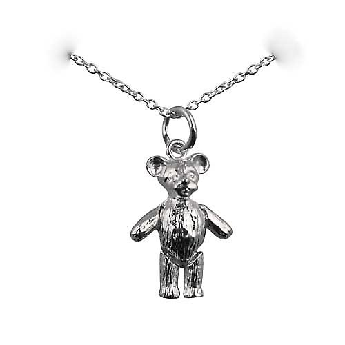Silver 19x13mm moveable Teddy Bear Pendant with a rolo Chain 16 inches Only Suitable for Children