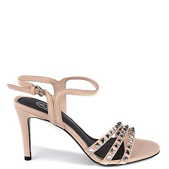 Ash HELLO Heeled Sandals Pink Leather & Silver Studs