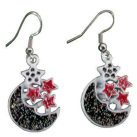 Half Moon Earrings Fabulous Earrings Moon Decorated Glitter Black Red