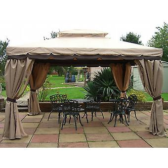 Luxe Granborough Gazebo 3.6 m x 3 m met privacy gordijnen & kant moquito netten