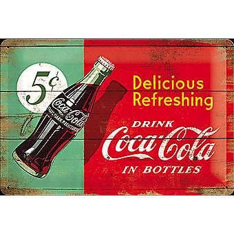 Coca cola Delicious Refreshing 5c embossed steel sign   (na 3020)