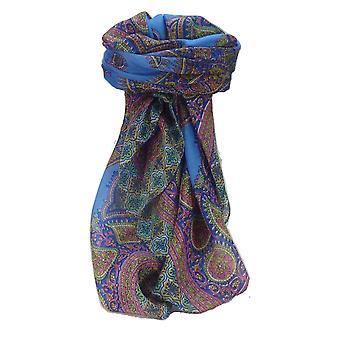 Amoreira seda tradicional lenço quadrado Obi azul por Pashmina & seda