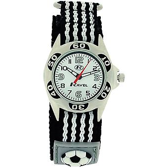 Ravel Analogue Boys Black & Grey Football Fabric Easy Fasten Watch R1507.16