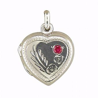 TOC Sterling Silver 16mm Heart Locket with Red Crystal  on 18
