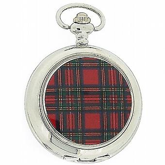 Pwl Tartan White Dial Unisex Dress Pocket Watch With 12