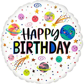 Anagram Planets And Stars Happy Birthday Round Foil Balloon