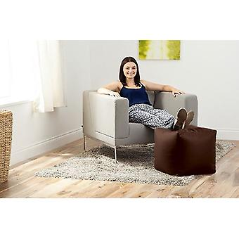 Brown Faux Leather Bean Bag Cube Footstool Pouffe Seat