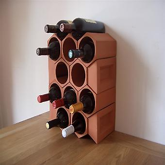 Terracotta 12 Bottle Wine Rack with Key Stones