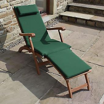 Trueshopping Steamer Sun Lounger with Green Cushion & Folding Side Table