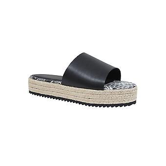 Black Flatform Espadrille Sliders In E Fit