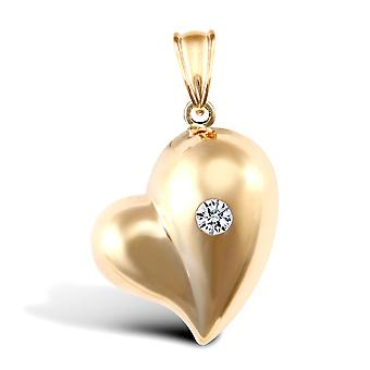 Jewelco London Ladies 9ct Yellow Gold White Round Brilliant Cubic Zirconia Domed Love Heart Charm Pendant