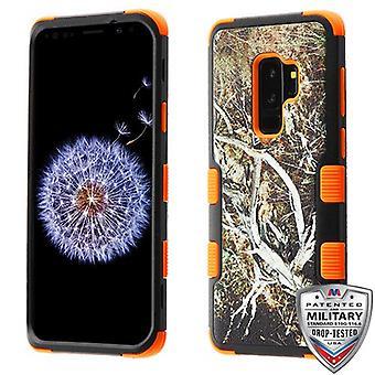 MYBAT Yellow/Black Vine/Orange TUFF Hybrid Protector Cover for Galaxy S9 Plus