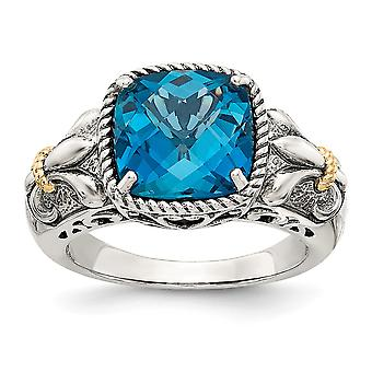 925 Sterling Silver With 14k London Blue Topaz Ring - Ring Taille: 6 à 8