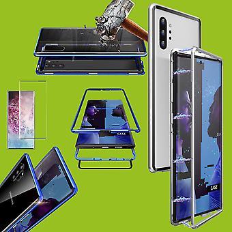 Para Samsung Galaxy Note 10 Plus N975F Magnet/metal/vidro caso caso prata/transparente + 0.3 mm H9 4D Full curvo temperado vidro duro