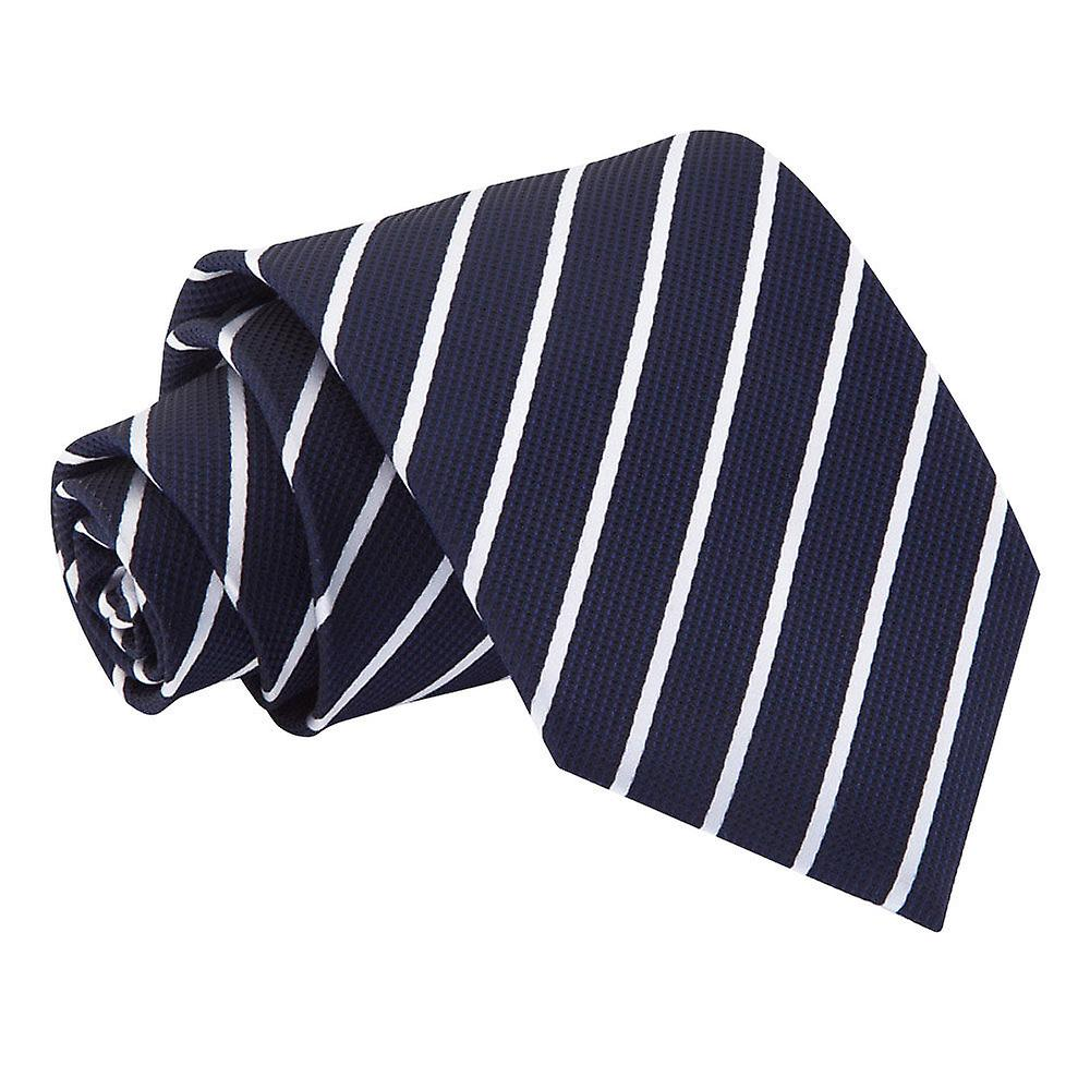 Navy & White Single Stripe Tie
