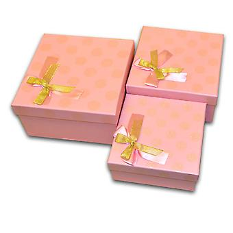 Glitz PINK with Bow Christmas Cardboard Gift Box Set 3 Pcs in Various Size