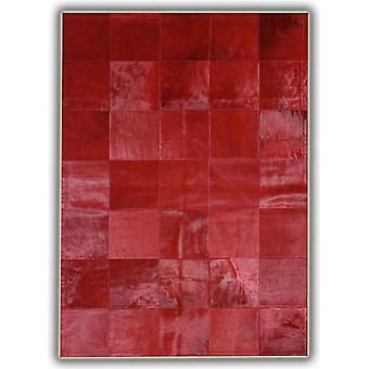 Rugs - Patchwork Leather Cubed Cowhide - Plain Red with Border